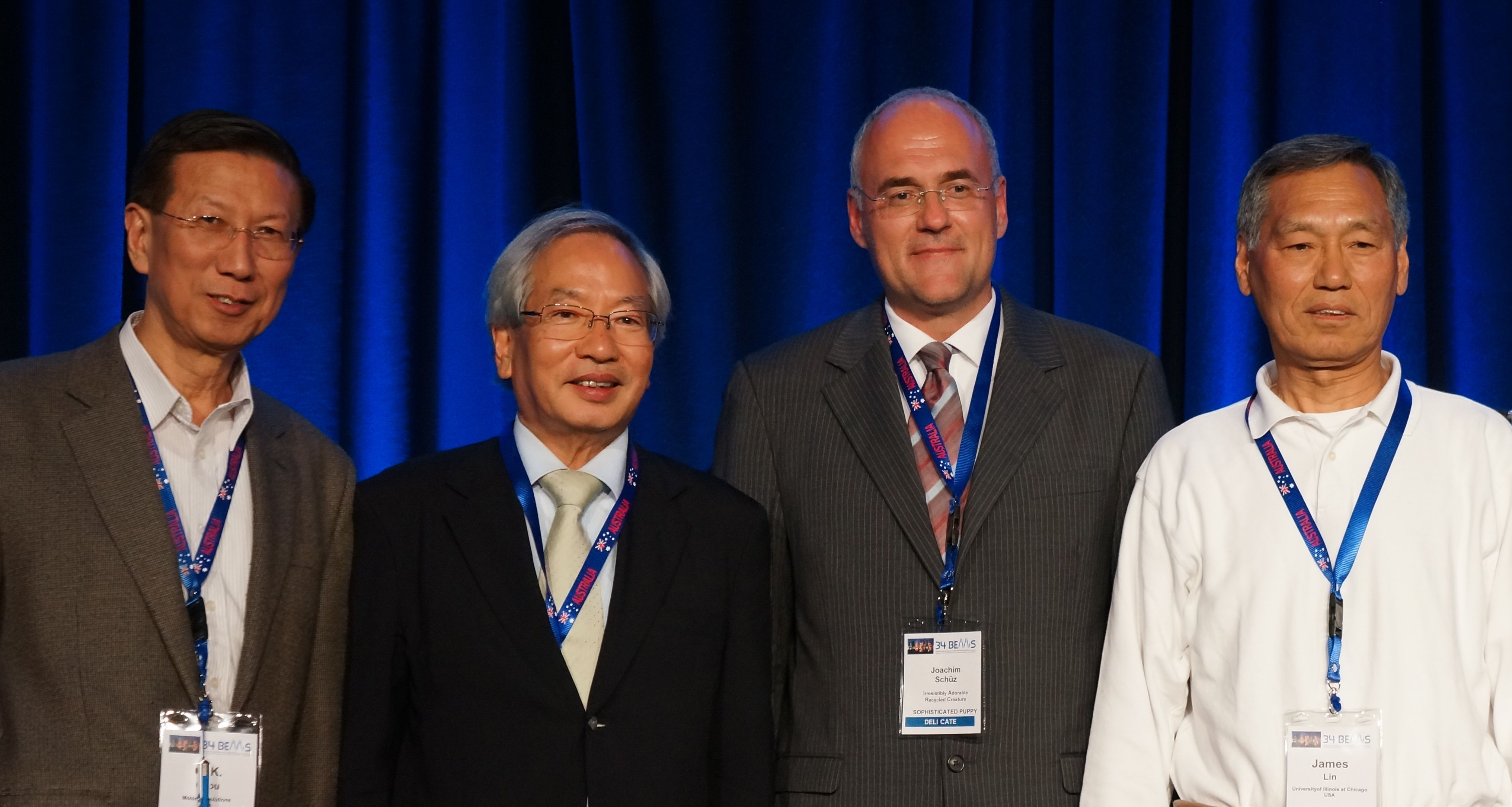 (l to r) C-K Chou, Shoogo Ueno, and James Lin, with President Joachim Schuz (3rd from left)